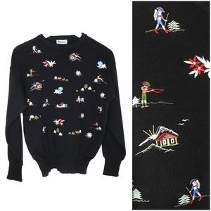 Vintage Meister Embroidered Ski Sweater Swiss Alps